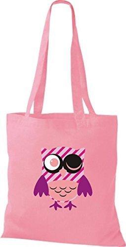 streifen Owl Retro niedliche Eule Farbe mit rosa Punkte diverse Stoffbeutel Bunte ShirtInStyle Karos Tragetasche Jute qx1zff
