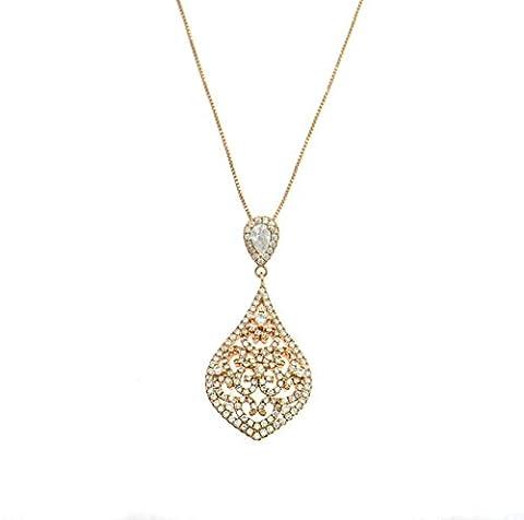 Anhänger mit Halskette 50cm Form Tropfen mit weißen Zirkonia Sterling Silber 925hypoallergen placcatoo Gold Pink, Länge. 3cm