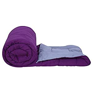 Clasiko Reversible Single Bed Big Size Comforter/Duvet for Winters; Color - Purple & Grey; Fabric - Micro Cotton; 300 GSM; Size - 152x230 Cms; Color Fastness Guarantee