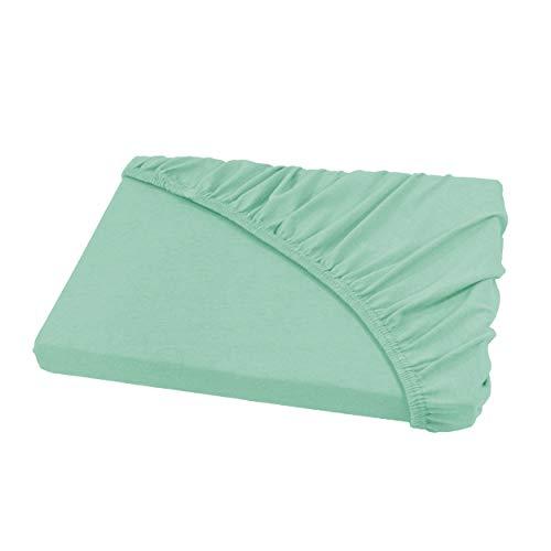 Spannbettlaken Bettlaken 200x220 cm Wasserbetten & Boxspringbetten/Spannbetttuch Spannleintuch aus Jersey Baumwolle in grayed Jade/Mint für Doppelbett-Matratzen