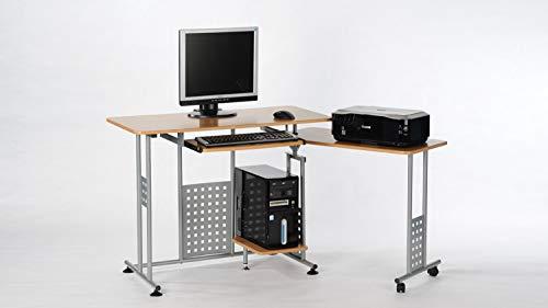 Computertisch Marc Schreibtisch Buche mit Tastaturauszug und Rollen 100-160 cm