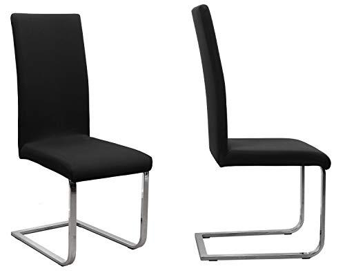 2er Set Jersey Stuhlhusse (Farbe wählbar), elastische Uni Stretch-Husse aus Baumwolle Bi-Elastisch (Schwarz)