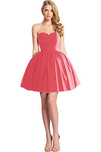 Victory Bridal Einfach Herzform Abendkleider Kurz Tuell Chiffon Promkleider Ballkleider Brautjungfernkleider Wassermelon