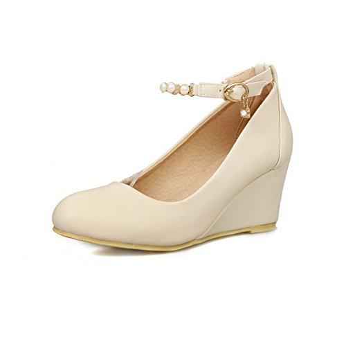 balamasa Femme kitten-heels Round-Toe massif perle boucle en caoutchouc pumps-shoes Blanc