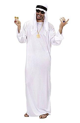 Muslim Männer Kostüm - Größe M - Kostüm - Verkleidung - Karneval - Halloween - Arabisch - Muslim - Weiße Farbe - Erwachsene - Mann - Junge