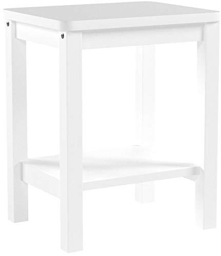 Homestyle4u 1827, Nachttisch Weiß, Beistelltisch Holz Kiefer mit 2 Ablagen