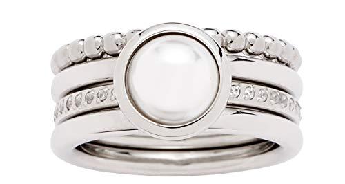 Jewels by Leonardo Damen-Ring Perla, Edelstahl mit Imitationsperle und Schliffkristallen, Größe 17, 016868