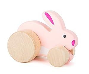 small foot company- Conejo Deslizante Small Foot para niños, 100% Certificado FSC, Hecho de Madera Resistente, promueve la imaginación y la Creatividad. Juguetes, Color Rosa (by Legler 11047)