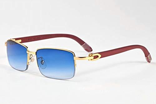 LKVNHP Herren Sonnenbrille Holz Sonnenbrille Für Mann Markenname Design Sonnenbrille Anti Reflektierende Uv400 BerühmteBlau