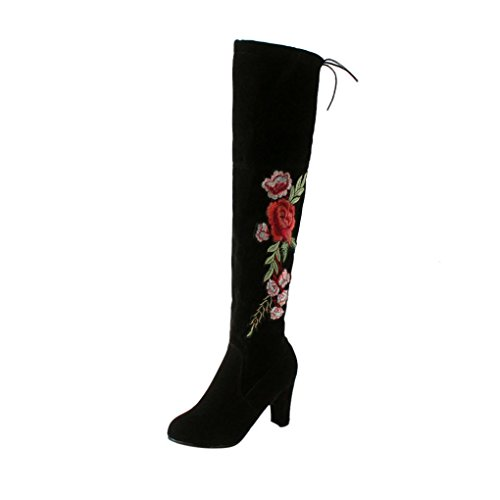 Kniehohe Stiefel Damen, DoraMe Frauen Rose Bestickte High Heels Schuhe Knie Stiefel Herde Boots (40, Schwarz) (Flache Leder Knie Boot)