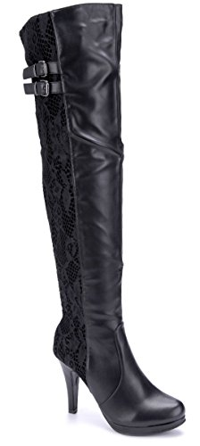 Schuhtempel24 Damen Schuhe Overknee Stiefel Stiefeletten Boots schwarz Stiletto Schnalle/Blumenapplikation 10 cm High Heels
