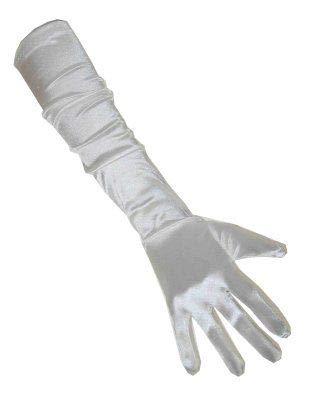 PartyXplosion Damen Handschuhe Elegante ca. 48-52 cm lange Satin Handschuhe Karneval, Weiß, One Size (Einheitsgröße)