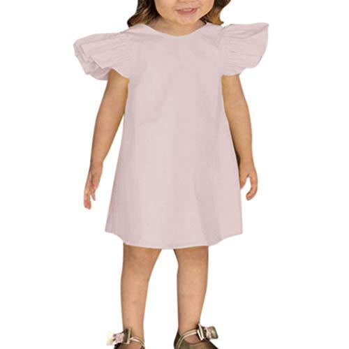 Frashing Sommer-Säuglingsbaby-Mädchen Fliegen Hülse Festes Bogen-Kleid Kleidet Kleider Solide Elegant Casual Regular Fit Bequem ()