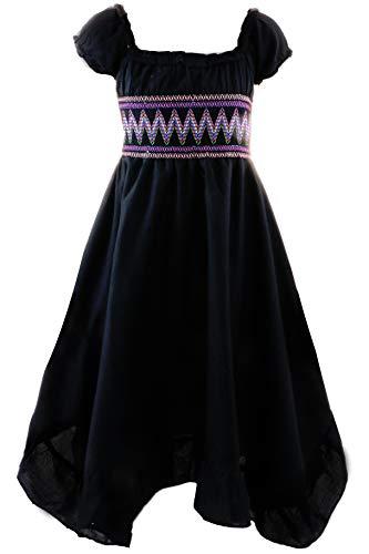 a Mädchen Kinder Sommer Freizeit Kleid (158/164, Schwarz) ()