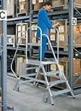 Aluminium-Podestleiter, Ambos Lados Accesible, 7 Niveles Altura de Trabajo hasta Aprox. 3,70 M