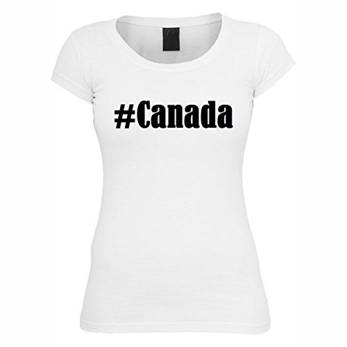 T-Shirt #Canada Hashtag Raute für Damen Herren und Kinder ... in der Farbe Weiß Weiß