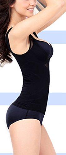 Feoya Damen Shapewear Formende Tops Taillenmieder Figurformendes Unterhemd mit offenem Brustbereich Schwarz
