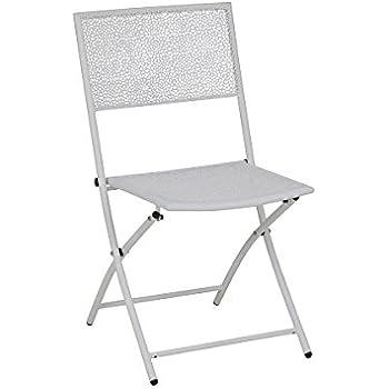 greemotion Chaise de Jardin Mykonos, Chaise Pliante Moderne, Chaise en  Acier Revêtu de Poudre Solide pour l\'Extérieur, env. 45 x 53 x 85 cm, Blanc