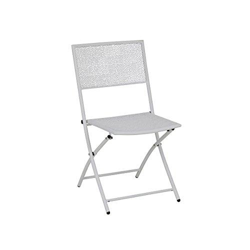 greemotion Klappstuhl Mykonos weiß, Gartenstuhl aus pulverbeschichtetem Stahl, platzsparend klappbar, Balkonstuhl mit Armlehnen, witterungsbeständig und - Weiß Klappstühle