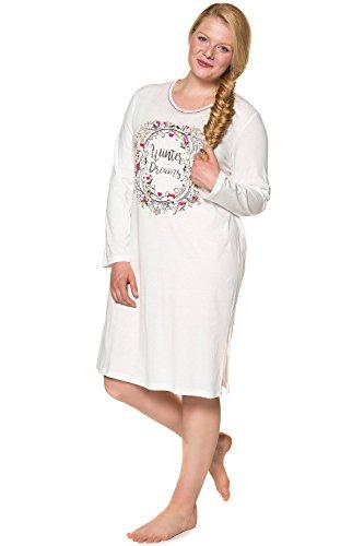 2 Pack Nachthemd (Ulla Popken Damen große Größen bis 66+ | Nachthemd, 2er Pack| reine Baumwolle, Rundhals | Langarm, Seitenschlitze, Muster | weiß, bunt | ecru 58/60 713303 13-58+)