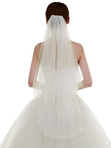 Edith qi 2 Schicht Damen Einfach und Elegant Tüll Brautschleier Kurzer Hochzeitsschleier mit Kamm
