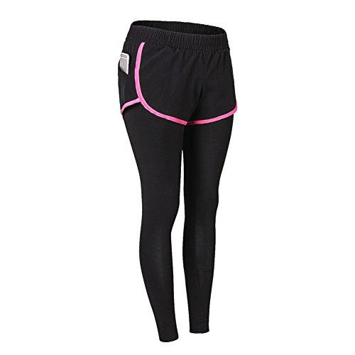 Pantalons de sport ,ESHOO Femmes Leggings Taille elastique Pantalons Yoga jogging Rose rouge