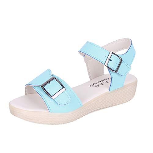❤Eaylis Damen Sandalen Flachboden Vielseitige Einfache Schnalle Flach Mit RöMischem Rundkopf Sommer Strand Schuhe Hausschuhe Stilvoll und elegant