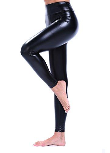 FITTOO Neu Dicker Flaum Damen Kunstleder High Waist Leggings Skinny PU Leder Hose Leder-Optik Strumpfhosen Treggings Schwarz Gläzend XL