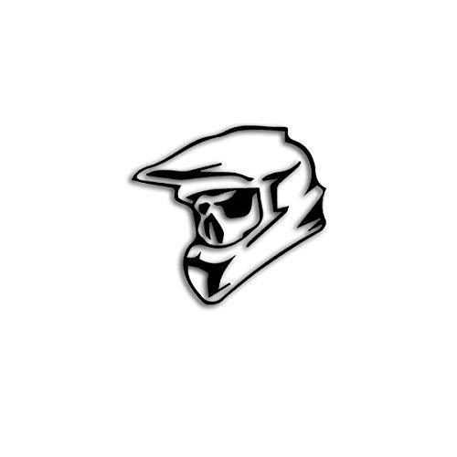Copytec Aufkleber/Sticker -Motocross Skull Totenschädel Helm Biker Quad Tuning Mountainbike MTB Off Road Cross Kopf 10x9cm #A3154