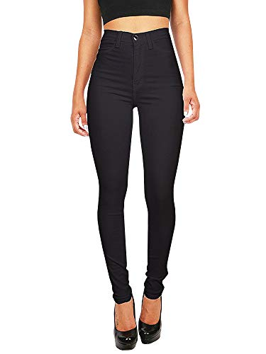 Baumwoll-stretch Cami (Hooleeger High Waist Jeans Damen Skinny Stretch Regular Fit Basic Jeanshose (Schwarz, L))