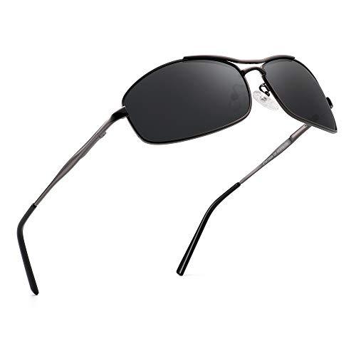 JIM HALO Polarisiert Flieger Sonnenbrille Rechteckig Federscharnier Fahren Brillen für Herren(Gunmetal Rahmen/Polarisierte Graue Linse)