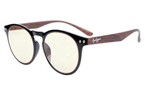 Eyekepper Retro Vintage Flex leichten Kunststoff runden Rahmen gelb getönten Linsen Computer Brillen Leser Brillen schwarz Frame-Holz-Arme