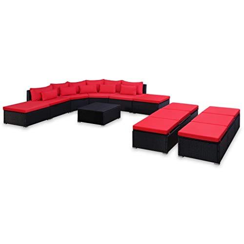 vidaXL Gartenmöbel 9-TLG. Rot Poly Rattan Sofa Sitzgruppe Lounge Sitzgarnitur -