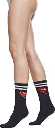 MERCHCODE Superman Double Pack Socken, Black/White, 39-42 (Dc-logo-socken)