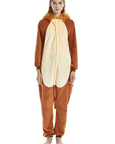 Unisex-Erwachsene Schlafanzug-Einteiler Jumpsuit Tier Pyjama Tierkostüme Schlafoveralls Nachtwäsche Löwe XL(Höhe 173-183cm)