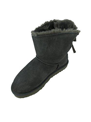 OOG Damen Leder Boots Stiefel Teddy Fell Blogger Schlupfstiefel neue Farben (39, Grau)