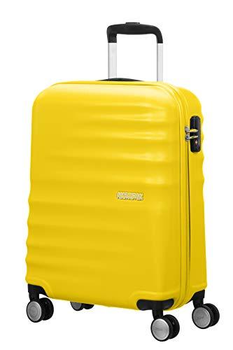 American tourister wavebreaker ,spinner s (55 cm - 36 l) ,bagaglio a mano, giallo (sunny yellow)