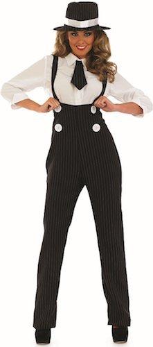 Damen 1920s Nadelstreifen Gangster Hosen Kostüm Kleid Outfit UK 8-30 Übergröße - Schwarz, 12-14