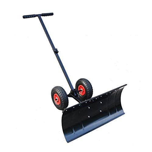 Snow Pusher (Znds Snow Plow Shovel Pusher mit Rädern-Snow Removal Tools für Driveway als Heavy Duty Wheeled Rolling Snow Pusher, um den Schnee auf Driveway Sidewalk oder Slippery Roads zu löschen)