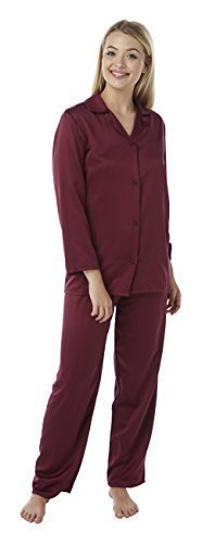 Da Donna In Raso Seta Set Pigiama Manica Lunga Silky Estate Pjs Burgundy