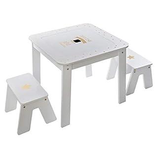 Atmosphera - Spieltisch fürs Kinderzimmer, Stauraum und wendbare Platte + 2 Hocker