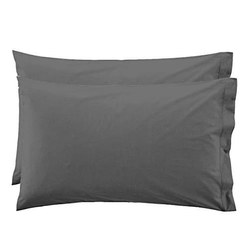 Lara morada coppia federe per cuscino guanciale tinta unita 100% cotone made in italy 52x82 + pattina (grigio topo)