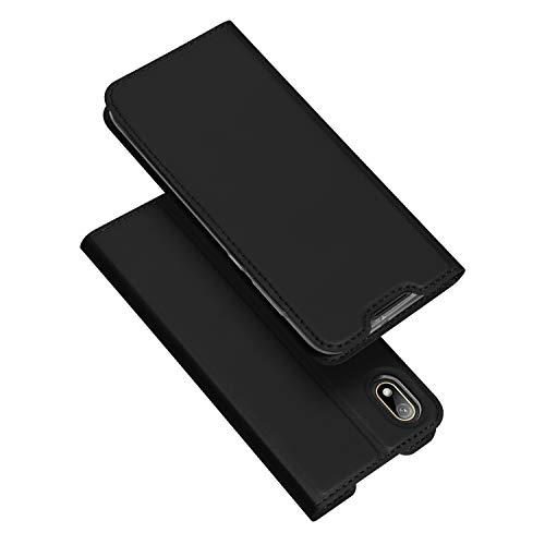 DUX DUCIS Hülle für Huawei Y5 2019, Leder Flip Handyhülle Schutzhülle Tasche Case mit [Kartenfach] [Standfunktion] [Magnetverschluss] für Huawei Y5 2019 (Schwarz)
