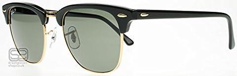 Ray Ban Unisex Sonnenbrille Clubmaster Classic, Gr. Medium (Herstellergröße: 49), Schwarz (Gestell: Schwarz, Gläser: Polarized Grün Klassisch 901/58)