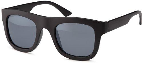 Vintage Sonnenbrille in trendiger wayfarer Form mit matten oder glänzenden schwarzen Rahmen und smoke Gläsern, auch für schmalerer Gesichter und Kopfformen, Brillentrends 2014 (schwarz-matt)