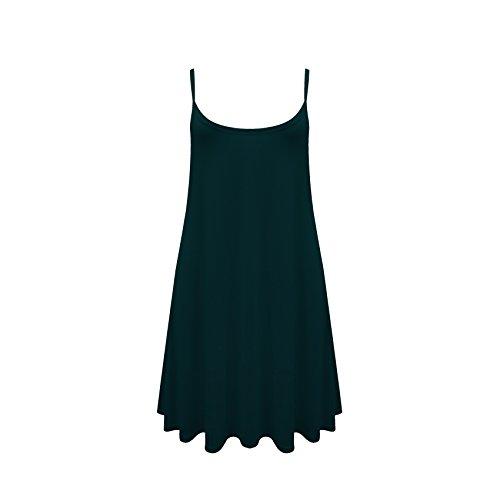 Damen Ärmellos Cami Swing Kleid Fließendes Flared Riemchen Skater Langes Top 8-26 Viele Farben Verfügbar Blaugruen
