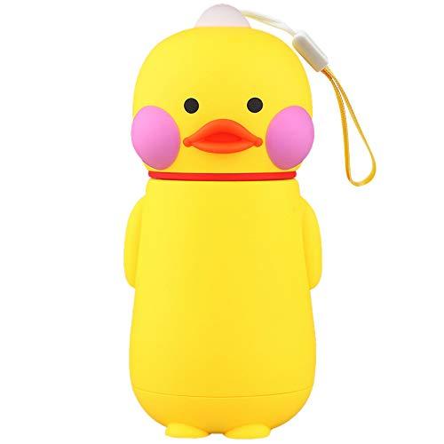 VEIYI Süße Trinkflasche Glas Wasserflasche 300ml Trinkflaschen mit Silikonhülle, Umweltfreundliche, Auslaufsicher, BPA-frei, Ente