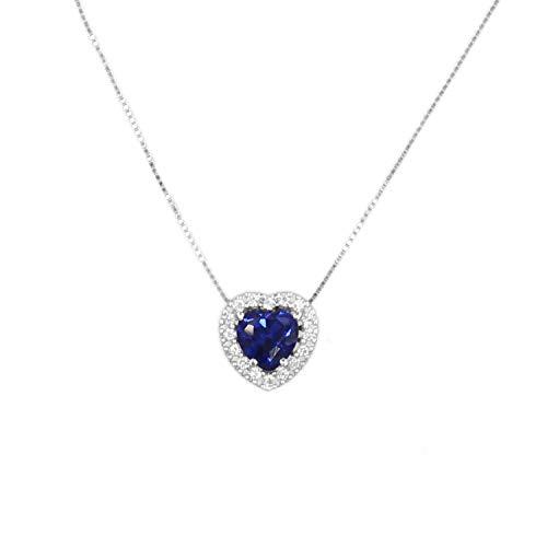 L'Atelier d'Azur - Collier Femme Or Blanc - Pendentif Coeur - Zirconium Saphir et Pavage de Zirconiums
