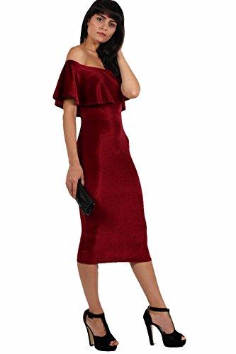 PILOT® Samt Schulter bodycon Midi-Kleid aus Weinrot