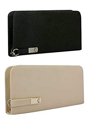 AWESOME FASHIONS Black & Cream Synthetic Women's Clutch (AF045) (Combo)